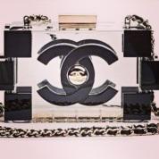 Chanel clear lego clutch