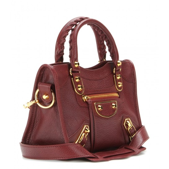 Side view: Classic Metallic Edge Mini leather tote