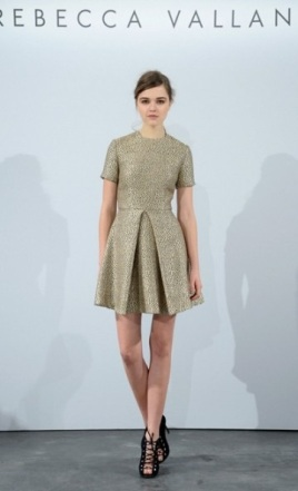 Rebecca Vallance, gold textured knee-length