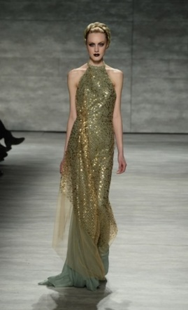 More from Venexiana; gold gowns.