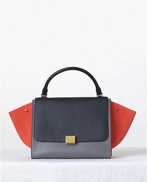 Celine-Tricolor-Orange-and-Blue-Trapeze-Bag-Fall-2013
